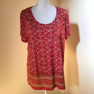 NWT! Lucky Brand 1X red Printed S/S Top